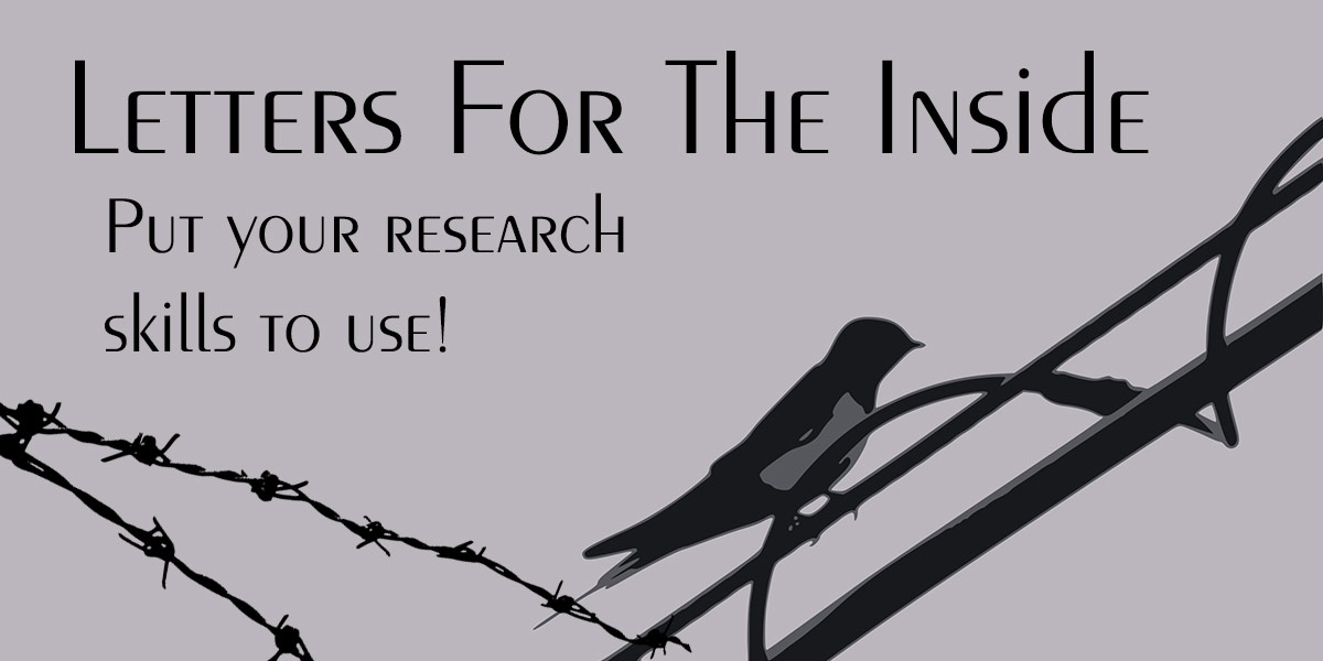"Bird on a wire, underneath text that reads: ""Letters for the Inside, put your research skills to use!"""