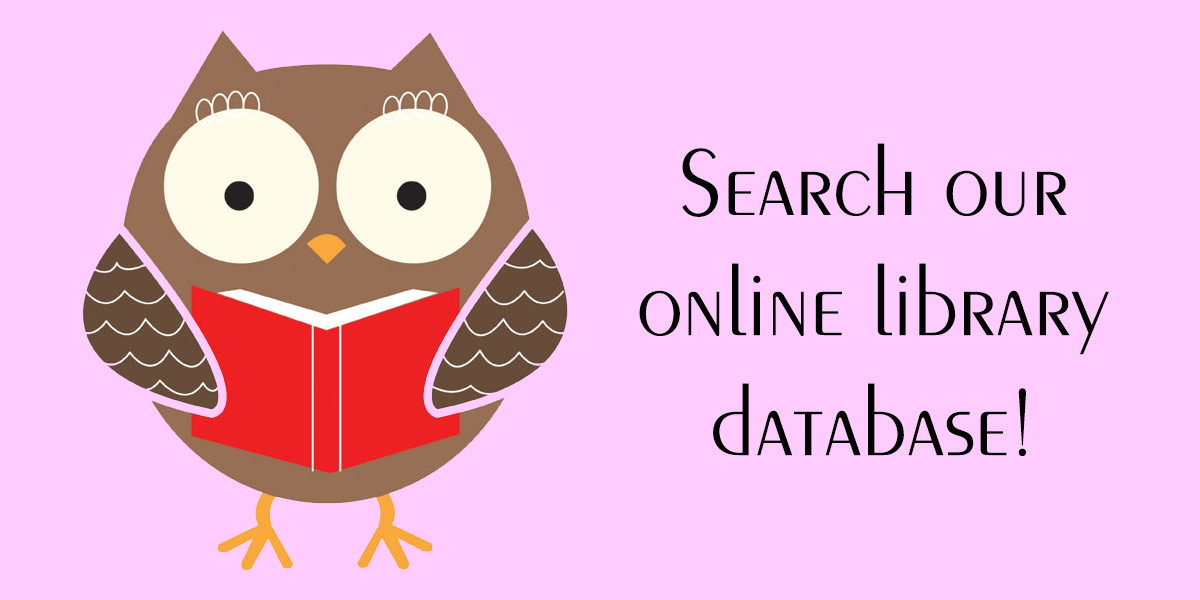 "Owl holding a book, next to text that reads: ""Search our online library database of social justice resources!"""