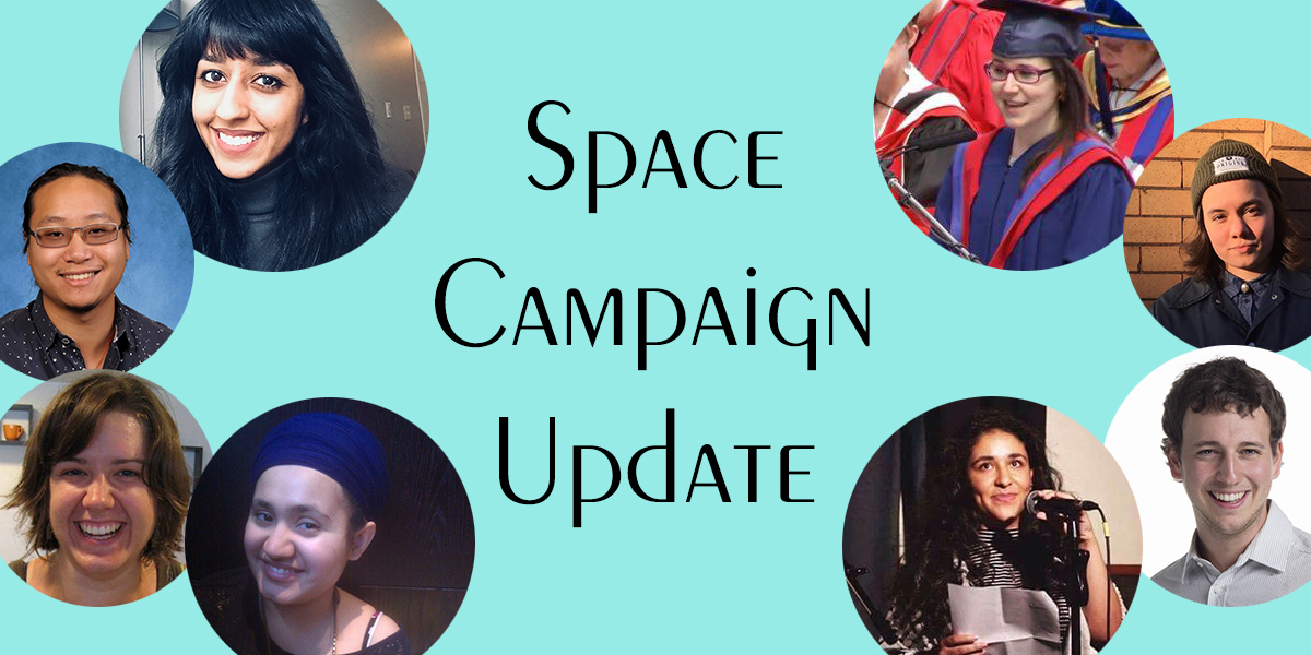 """Space Campaign Update"" surrounded by SFPIRG volunteers"